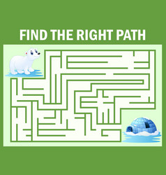 Maze game find polar bear walk away to igloos vector