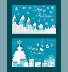 merry christmas paper cut greeting card with snow vector image