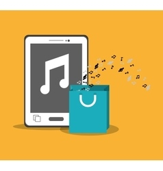 Mobile music smartphone bag gift note yellow vector