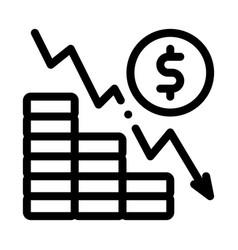 Monetary decline icon outline vector