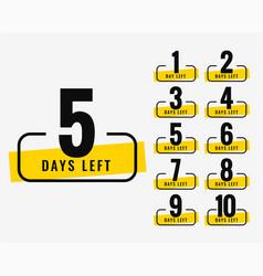 Number of days left promotional banner symbol vector