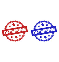 Offspring rosette seals with grunged style vector