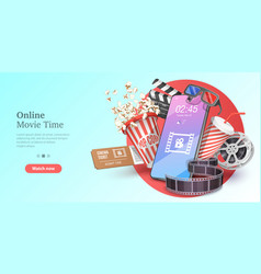 Online movie time mobile movie theater vector