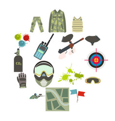 paintball game flat icons set vector image