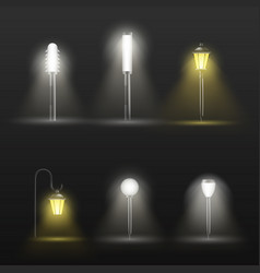 Pathway and flowerbed lamps realistic set vector