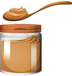 Peanut butter in plastic jar vector image