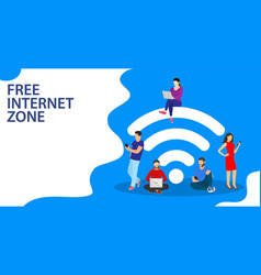 People in free internet zone working vector