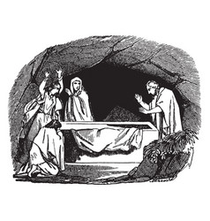 Peter finds the tomb of jesus empty vintage vector