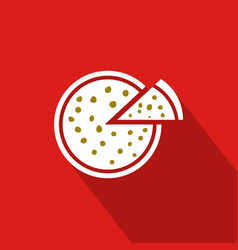 Pizza flat icon with red background vector