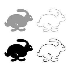 rabbit hare concept speed icon outline set grey vector image