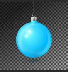 Realistic aqua christmas ball with silver ribbon vector