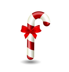 realistic colorful christmas candy cane with red vector image