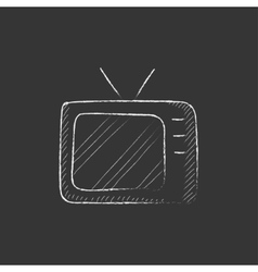 Retro television drawn in chalk icon vector