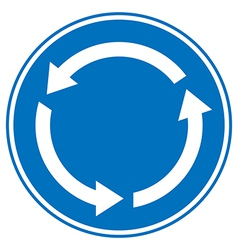 Roundabout crossroad road traffic sign vector image