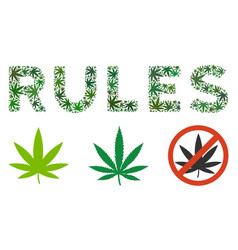 Rules label collage of hemp leaves vector