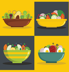 Salad bowl banner horizontal set flat style vector