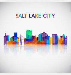 salt lake city skyline silhouette in colorful vector image