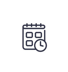 schedule line icon on white vector image