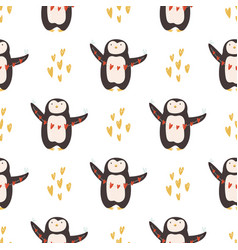 seamless pattern with cute penguins for st vector image