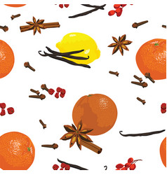 seamless pattern with mandarin and spices vector image