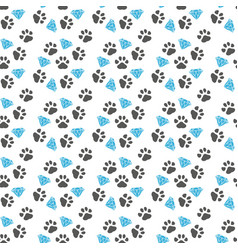 seamless pattern with paw footprints a vector image