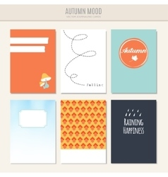 Set of autumn fall greeting journaling cards vector