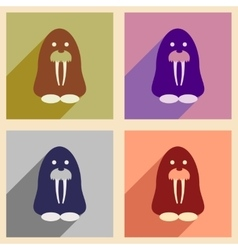 Set of flat web icons with long shadow walrus vector