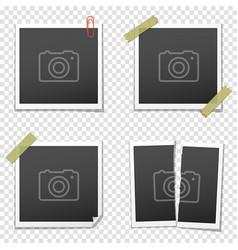 set of vintage photo frames on transparent vector image