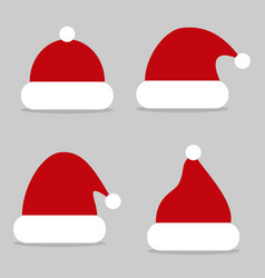 set red santa hats icon vector image