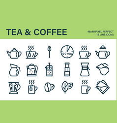Set tea or coffee drink icons vector