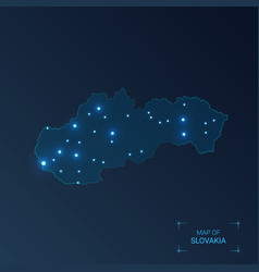Slovakia map with cities luminous dots - neon vector