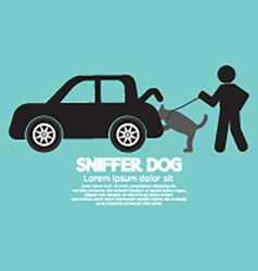 Sniffer Dog Smell At Cars Trunk vector