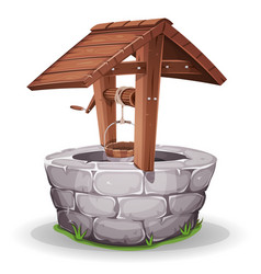 Stone and wood water well vector