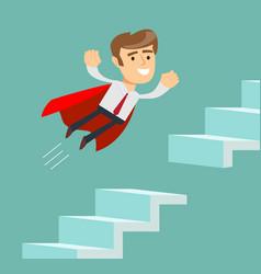 Super businessman advancement on a career ladder vector