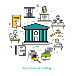 supreme court building - round concept vector image