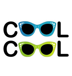 Text cool with vintage glasses as letter O vector