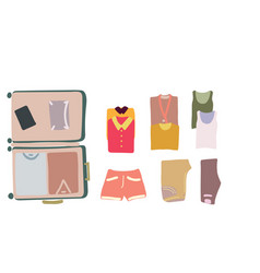 Top view luggage with clothes vector