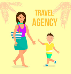 Travel agency color flat poster with lettering vector