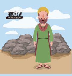 twelve apostles poster with andrew in scene in vector image