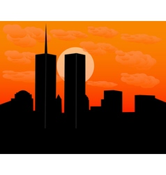 Twin towers at sundown vector