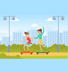 two young women riding skateboards in park vector image
