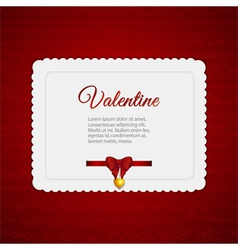 valentine heart card with ribbon vector image vector image