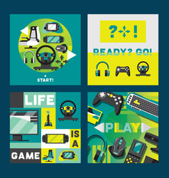 video games and gamers aquare cards design vector image
