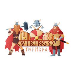 vikings title header composition vector image