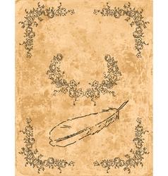 Vintage frame on old paper sheet vector image