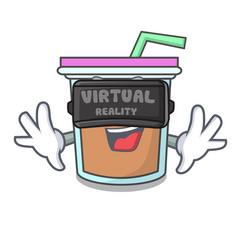 Virtual reality bubble tea mascot cartoon vector