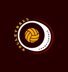 volleyball logo modern professional typography vector image