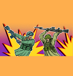 War and hatred soldiers kill each other vector