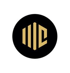 wc or mc logo concept hexagonal letter on black vector image