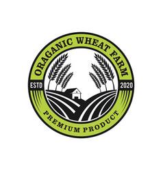 Wheat farm organic label logo badge design vector